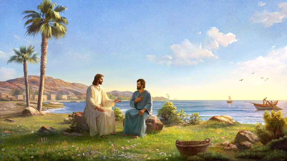 peter and jesus sit on the stone, jesus asked peter:'Do you love me?'