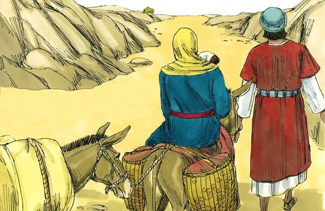 Joseph left Bethlehem with Mary and the young child Jesus