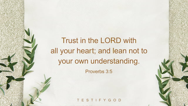 Trust in the LORD with all your heart; and lean not to your own understanding. - Proverbs 3:5
