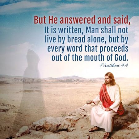 Matthew 4:4 But he answered and said, It is written, Man shall not live by bread alone, but by every word that proceeds out of the mouth of God.