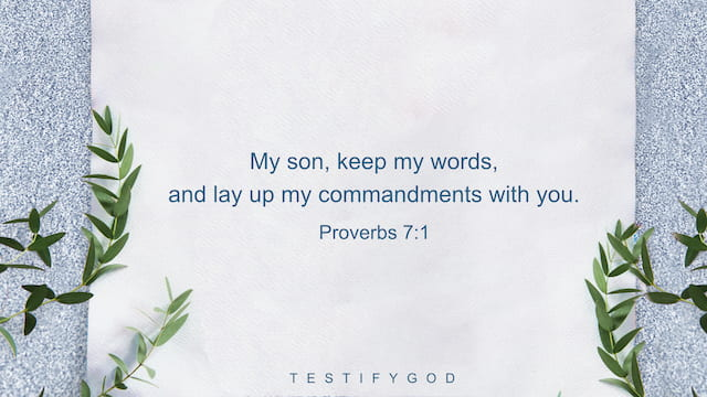 Proverbs 7:1, My son, keep my words, and lay up my commandments with you.