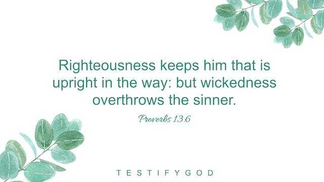Proverbs 13:6, Righteousness keeps him that is upright in the way: but wickedness overthrows the sinner.