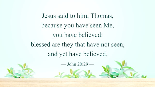 Blessed Are Those Who Have Not Seen and yet Believe, Reflection on John 20:29