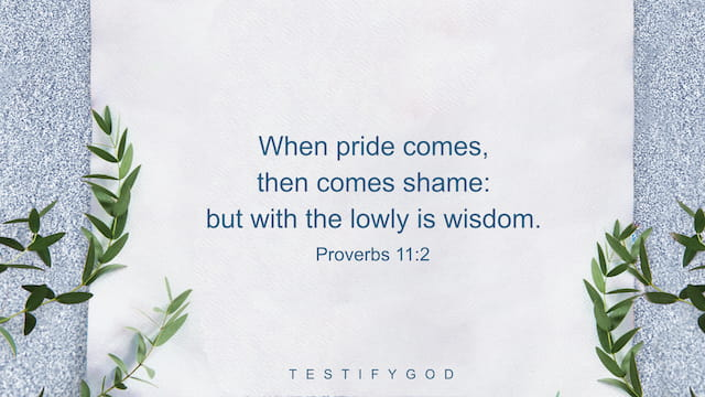 When pride comes, then comes shame: but with the lowly is wisdom. - Proverbs 11:2