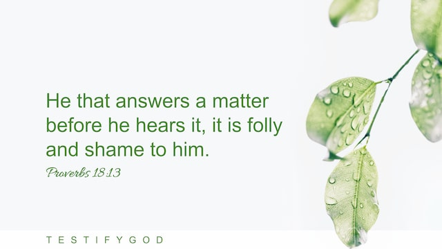 The Fools Answer a Matter Before Hearing It, Reflection on Proverbs 18:13
