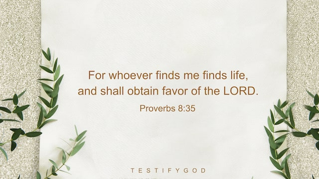 Proverbs 8:35,For whoever finds me finds life, and shall obtain favor of the LORD.