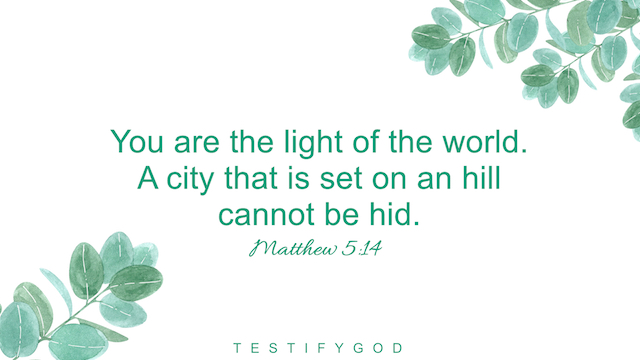 """Matthew 5:14 """"You are the light of the world. A city that is set on an hill cannot be hid."""""""