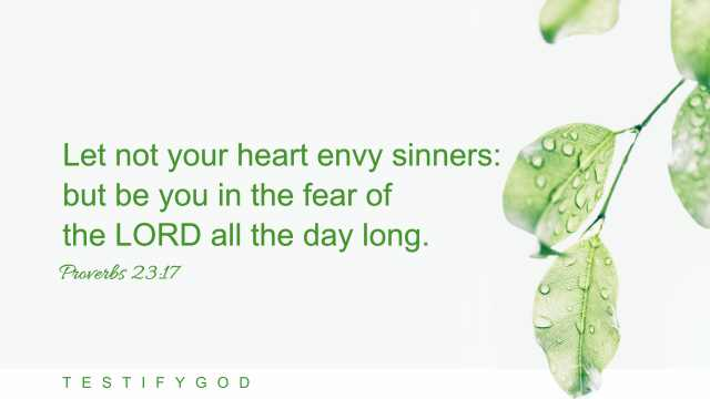 """Proverbs 23:17 """"Let not your heart envy sinners: but be you in the fear of the LORD all the day long. """""""