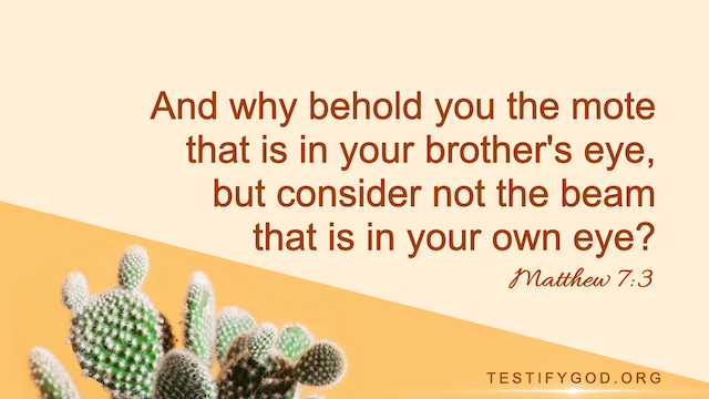 "Matthew 7:3 ""And why behold you the mote that is in your brother's eye, but consider not the beam that is in your own eye?"""