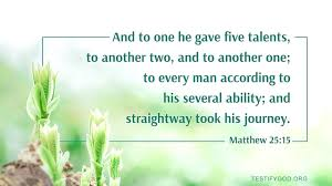 To Every Man According to His Several Ability – Reflection on Matthew 25:15