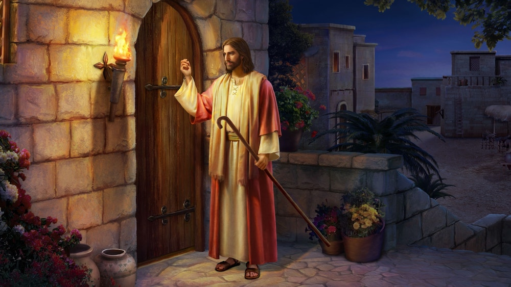 behold i stand at the door and knock, jesus stands at the door and knocks